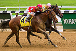 Elmont, NY - OCTOBER 08: Yellow Agate, #4  with Manuel Franco  aboard. wins the Frizette Stakes for 2-year old fillies, at Belmont Park. (Photo by Sue Kawczynski/Eclipse Sportswire/Getty Images)