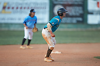 Nick Solomita (7) (UNC Greensboro) of the Mooresville Spinners takes his lead off of second base against the Dry Pond Blue Sox at Moor Park on July 2, 2020 in Mooresville, NC.  The Spinners defeated the Blue Sox 9-4. (Brian Westerholt/Four Seam Images)