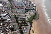 Pictured: Civic Centre building and, Oystermouth Road and Swansea Marina, Meridian Quay block of flats. 16 September 2011<br /> Re: Aerial photography, Swansea, south Wales.