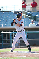 Ronnie Jebavy (1) of the San Jose Giants bats against the Lancaster JetHawks during the first game of a doubleheader at The Hanger on July 14, 2016 in Lancaster, California. Lancaster defeated San Jose, 3-0. (Larry Goren/Four Seam Images)