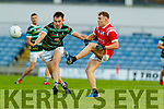 Jack Barry, St. Brendan's Board in action against Dara Moynihan, East Kerry during the Kerry County Senior Football Championship Semi-Final match between East Kerry and St Brendan's at Austin Stack Park in Tralee, Kerry.
