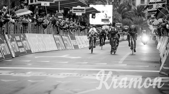 Gerald Ciolek (DEU) pips Peter Sagan (SVK) and Fabian Cancellara (SUI) on the finish line to win this infamous-to-be icy 2013 edition of Milan-Sanremo<br /> <br /> Milan - San Remo 2013: the iced edition<br /> <br /> ©kramon