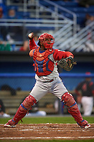 Williamsport Crosscutters catcher Jesus Posso (28) throws down to second during a game against the Batavia Muckdogs on August 27, 2015 at Dwyer Stadium in Batavia, New York.  Batavia defeated Williamsport 3-2.  (Mike Janes/Four Seam Images)