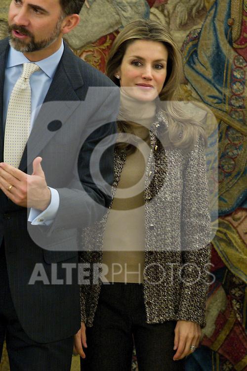 Prince Felipe and Princess Letizia attend different hearings at La Zarzuela Palace in Madrid, January 27th, 2011..Photo: Miguel Cordoba / ALFAQUI