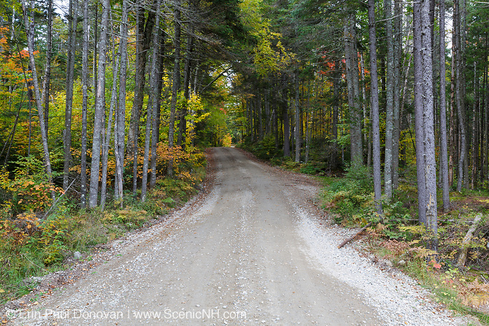 Old Jefferson Turnpike (now Old Cherry Mountain Road) in the White Mountains, New Hampshire during the autumn months.