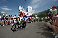 Dutch TT champion Wilco Kelderman (NLD/LottoNL-Jumbo) finishing the stage 1 prologue in Utrecht (13.8km)<br /> <br /> Tour de France 2015