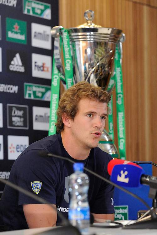 Aurelien Rougerie of ASM Clermont Auvergne speaks during the Captain's Run press conference before the Heineken Cup Final at the Aviva Stadium, Dublin on Friday 17th May 2013 (Photo by Rob Munro).
