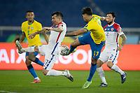 2nd July 2021; Nilton Santos Stadium, Rio de Janeiro, Brazil; Copa America, Brazil versus Chile; Lucas Paquetá of Brazil scores his goal in the 46th minute 1-0