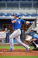 Dunedin Blue Jays third baseman Mitch Nay (28) at bat during a game against the Charlotte Stone Crabs on July 26, 2015 at Charlotte Sports Park in Port Charlotte, Florida.  Charlotte defeated Dunedin 2-1 in ten innings.  (Mike Janes/Four Seam Images)