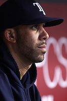 David Price #14 of the Tampa Bay Rays before pitching against the Los Angeles Angels at Angel Stadium on August 16, 2012 in Anaheim, California. Tampa Bay defeated Los Angeles 7-0. (Larry Goren/Four Seam Images)