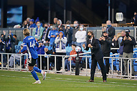 SAN JOSE, CA - MAY 1: Cade Cowell #44 of the San Jose Earthquakes celebrates scoring with San Jose Earthquakes head coach Matias Almeyda during a game between D.C. United and San Jose Earthquakes at PayPal Park on May 1, 2021 in San Jose, California.