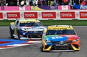 #18: Kyle Busch, Joe Gibbs Racing, Toyota Camry M&M's, #24: William Byron, Hendrick Motorsports, Chevrolet Camaro Valvoline