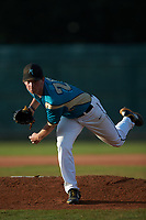 Mooresville Spinners starting pitcher Jake Landis (28) (Pfeiffer University) follows through on his delivery against the Concord A's at Moor Park on July 31, 2020 in Mooresville, NC. The Spinners defeated the Athletics 6-3 in a game called after 6 innings due to rain. (Brian Westerholt/Four Seam Images)