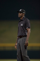 Field umpire Demetrius Hicks during an Arizona League game between the AZL Athletics and the AZL Cubs 1 at Sloan Park on June 28, 2018 in Mesa, Arizona. The AZL Athletics defeated the AZL Cubs 1 5-4. (Zachary Lucy/Four Seam Images)