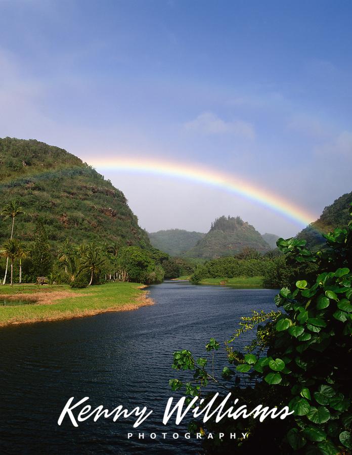 Rainbow over Waimea River, Waimea Valley Park, Oahu, Hawaii. USA.