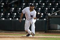 Winston-Salem Dash first baseman Samir Duenez (19) waits for a throw during the game against the Greensboro Grasshoppers at Truist Stadium on August 13, 2021 in Winston-Salem, North Carolina. (Brian Westerholt/Four Seam Images)