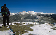 Mount Eisenhower (left center) and Mount Washington (behind right) from near the summit of Mount Pierce in the White Mountains, New Hampshire USA during the winter months.
