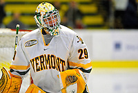 21 February 2009: University of Vermont Catamount goaltender Rob Madore, a Freshman from Venetia, PA, warms up prior to a game against the University of Massachusetts River Hawks at Gutterson Fieldhouse in Burlington, Vermont. The River Hawks shut out the Catamounts 1-0. Mandatory Photo Credit: Ed Wolfstein Photo