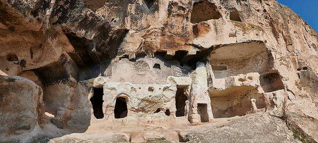 Phrygian and later rock tombs of the necropolis of Midas . From the 8th century BC . Midas City, Yazilikaya, Eskisehir, Turkey.<br /> <br /> The earliest Phrygian settlement here began in the last quarter of the 8th century BC. Even after the Phrygian kingdom collapsed politically, the city was not abandoned and the Phrygian rock structures and tombs were conserved, with some additions and changes made.in the Persian, Hellenistic, Roman and Byzantine periods.