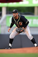 Omaha Storm Chasers third baseman Christian Colon (4) during a game against the Nashville Sounds on May 19, 2014 at Herschel Greer Stadium in Nashville, Tennessee.  Nashville defeated Omaha 5-4.  (Mike Janes/Four Seam Images)