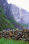 Spring meltdown results in huge cascades down the 1000-meter cliffs of Lysefjorden, Norway. 2011