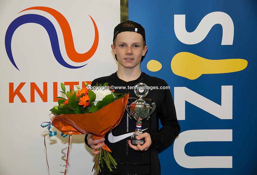 Rotterdam, The Netherlands, March 20, 2016,  TV Victoria, NOJK 14/18 years, Runner up boys 18 years:  Jesper de Jong (NED)<br /> Photo: Tennisimages/Henk Koster