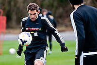 Thursday 20 March 2014<br /> Pictured:Angel Rangel<br /> Re: Swansea City Training at their Fairwood training facility, Swansea, Wales,UK