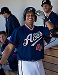 Reno Aces Juan Rivera smiles after hitting a two-run homerun against the Tacoma Rainiers in the fourth inning of their game played on Sunday afternoon, May 26, 2013 in Reno, Nevada.
