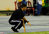 BARRANCABERMEJA - COLOMBIA, 10-02-2018:  Juan Cruz Real técnico de Alianza Petrolera gesticula durante el encuentro con Leones FC fecha 2 de la Liga Águila I 2018 disputado en el estadio Daniel Villa Zapata de la ciudad de Barrancabermeja. / Juan Cruz Real coach of Alianza Petrolera gestures during a match against Leones FC for the date 2 of the Aguila League I 2018 played at Daniel Villa Zapata stadium in Barrancebermeja city. Photo: VizzorImage / Jose Martinez / Cont