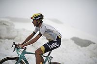 Martijn Keizer (NLD/LottoNL-Jumbo) suffering up the snow-covered Colle dell'Agnello (2744m)<br /> <br /> stage 19: Pinerolo(IT) - Risoul(FR) 162km<br /> 99th Giro d'Italia 2016