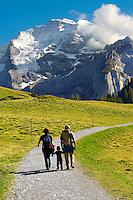 Grindelwald First- Family Walking  - Grindelwald First- Swiss Alps, Switzerland