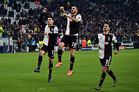 Cristiano Ronaldo , Leonardo Bonucci , Mattia De Sciglio of Juventus celebrate at the end of the matca <br /> Torino 26/11/2019 Juventus Stadium <br /> Football Champions League 2019//2020 <br /> Group Stage Group D <br /> Juventus - Atletico Madrid <br /> Photo Andrea Staccioli / Insidefoto