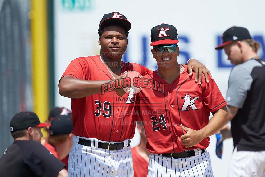 Kannapolis Intimidators pitchers Luis Ledo (39) and Andrew Perez (24) pose for a photo prior to the game against the Greensboro Grasshoppers at Kannapolis Intimidators Stadium on August 5, 2018 in Kannapolis, North Carolina. The Grasshoppers defeated the Intimidators 2-1 in game one of a double-header.  (Brian Westerholt/Four Seam Images)