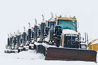 Front end loaders on Alaska's Arctic North Slope, Prudhoe Bay, Alaska