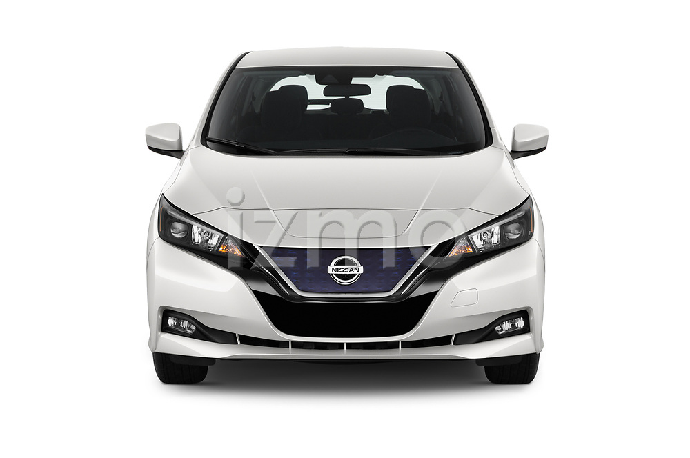 Car photography straight front view of a 2020 Nissan Leaf SV 5 Door Hatchback Front View