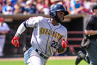 Burlington Bees outfielder Torii Hunter (22) rounds first base during a Midwest League game against the Wisconsin Timber Rattlers on May 19, 2018 at Fox Cities Stadium in Appleton, Wisconsin. Wisconsin defeated Burlington 1-0. (Brad Krause/Four Seam Images)