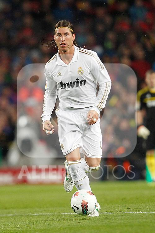 Real Madrid's Sergio Ramos during la liga match on april 21st 2012...Photo: Cesar Cebolla / ALFAQUI