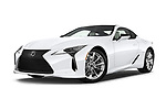 Stock pictures of low aggressive front three quarter view of 2018 Lexus LC 500 4 Door Sedan