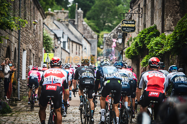The peloton during Stage 1 of the 2021 Tour de France, running 197.8km from Brest to Landerneau, France. 26th June 2021.  <br /> Picture: A.S.O./Charly Lopez | Cyclefile<br /> <br /> All photos usage must carry mandatory copyright credit (© Cyclefile | A.S.O./Charly Lopez)