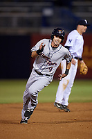 Lakeland Flying Tigers third baseman Zac Shepherd (4) running the bases during a game against the Tampa Yankees on April 7, 2017 at George M. Steinbrenner Field in Tampa, Florida.  Lakeland defeated Tampa 5-0.  (Mike Janes/Four Seam Images)
