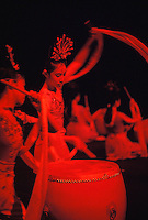 Chinese acrobatic act, girls performing with drums and scarves