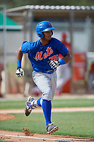 GCL Mets second baseman Pedro Ventura (75) runs to first base during a game against the GCL Cardinals on July 23, 2017 at Roger Dean Stadium Complex in Jupiter, Florida.  GCL Cardinals defeated the GCL Mets 5-3.  (Mike Janes/Four Seam Images)