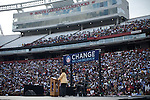 December 9, 2007. Columbia, SC.. Democratic presidential hopeful and US Senator, Barack Obama held a rally at the University of South Carolina's football stadium, drawing a crowd of an estimated 29,000 people, with special guest Oprah Winfrey.. Oprah took the stage to great applause.. .