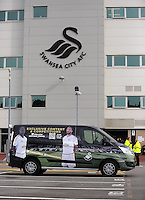 The new kit man's van. Barclays Premier League match between Swansea City and Tottenham Hotspur played at The Liberty Stadium, Swansea on October 4th 2015