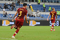 26th September 2021;  Stadio Olimpico, Rome, Italy; Italian Serie A football, SS Lazio versus AS Roma; Roger Ibanez of As Roma celebrates after scoring the goal for 2-1