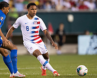 PHILADELPHIA, PA - JUNE 30: Weston Mckennie #8 passes the ball during a game between Curacao and USMNT at Lincoln Financial Field on June 30, 2019 in Philadelphia, Pennsylvania.