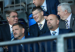 St Johnstone v Falkirk…24.07.18…  McDiarmid Park    Betfred Cup<br />SPFL Chief Exec Neil Doncaster pictured with St Johnstone owner Geoff Brown and Ian Blair<br />Picture by Graeme Hart. <br />Copyright Perthshire Picture Agency<br />Tel: 01738 623350  Mobile: 07990 594431