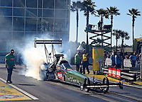 Mar. 16, 2013; Gainesville, FL, USA; NHRA top fuel dragster driver Terry McMillen during qualifying for the Gatornationals at Auto-Plus Raceway at Gainesville. Mandatory Credit: Mark J. Rebilas-