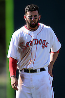 Portland Sea Dogs shortstop Deven Marrero (18)  during a game versus the Trenton Thunder at Hadlock Field in Portland, Maine on May 17, 2014. (Ken Babbitt/Four Seam Images)