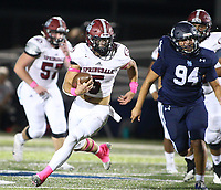 Landon Phipps (5) of Springdale runs ball on Friday, Oct. 8, 2021, during the first half of play at Wildcat Stadium in Springdale. Visit nwaonline.com/211009Daily/ for today's photo gallery.<br /> (Special to the NWA Democrat-Gazette/David Beach)